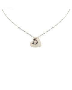 Dior Shell Heart Logo Necklace Silver