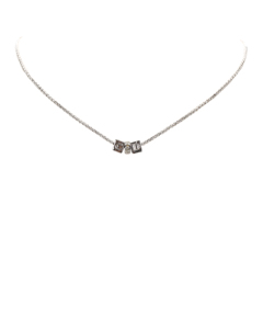 Dior Logo Cube Necklace Silver