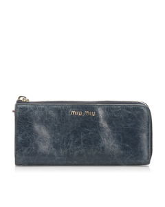 Miu Miu Vitello Shine Wallet Blue