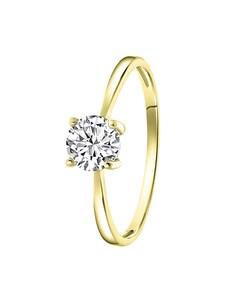Ring, 925 Silber, vergoldet, Swarovski, Zirkonia 6 mm