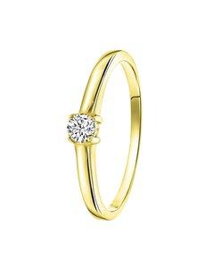 Ring, 925 Silber, vergoldet, Swarovski, Zirkonia 3,5 mm