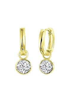 Ohrringe, 925 Silber, vergoldet, mit Swarovski-Kristallen, weiß