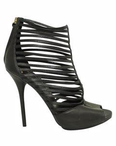 Black Strappy Caged Heels