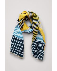 Printed Silk Scarf Yellow / Blue / White