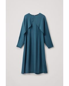 Silk Dress With Open Sleeves Turquoise