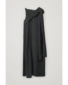 Draped Neck-tie Dress Black