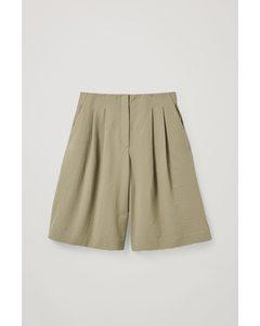Multi-pleat Cotton Shorts Khaki