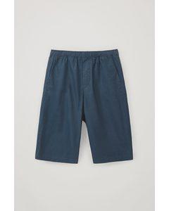 Cotton-mix Long Shorts Blue