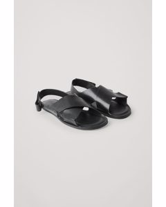 Crossover Leather Sandals Black