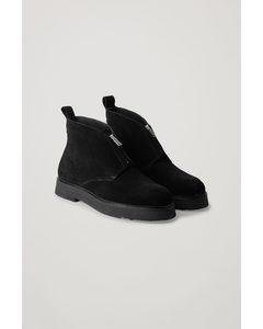Suede Desert Boots With Zip Black