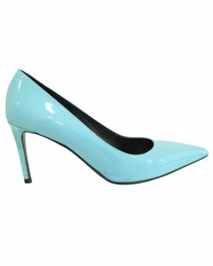 Blue Patent Leather Pointed Toe Heels