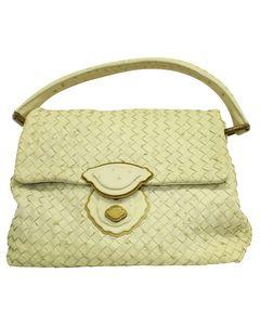 Pastel Yello Ostrich Intrecciato Handbag