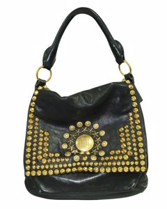 Black Soha Moyen Studded Hobo Bag