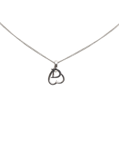 Dior Open Heart Pendant Necklace Silver