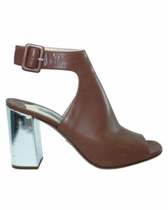 Brown Leather Block Heels