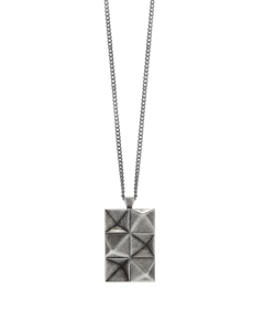 In'n'out Tag Necklace In Aged Silver