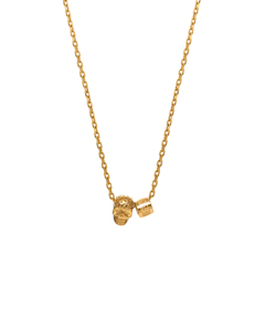 Perforated Skull And Logo Wheel Necklace In Gold