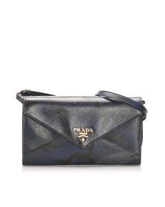 Prada Saffiano Leather Wallet On Strap Multi