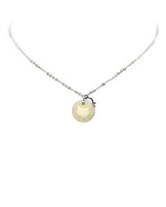 Dior Round Logo Pendant Necklace Silver