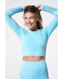 Slash Long Sleeve Crop Top  Turquoise Melange