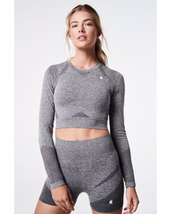 Slash Long Sleeve Crop Top  Grey Melange