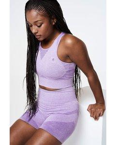 Stay Crop Top Seamless  Purple Melange