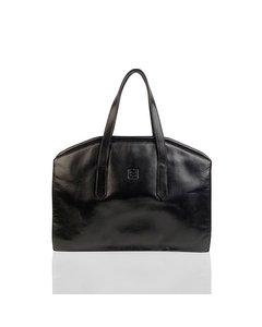 Fendi Vintage Black Leather Framed Satchel Top Handle Bag