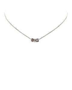 Dior Logo Cube Necklace Silver
