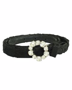 Black Leather And Fabric Belt With Embellishment