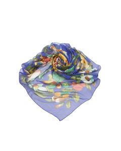 Chanel Printed Silk Scarf Blue