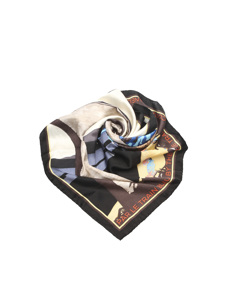 Chanel Printed Silk Scarf White