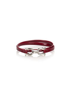 Ferragamo Gancini Leather Bracelet Red