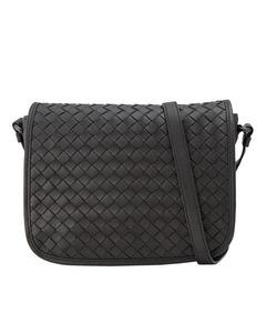Bottega Veneta Intrecciato Leather Crossbody Bag Black