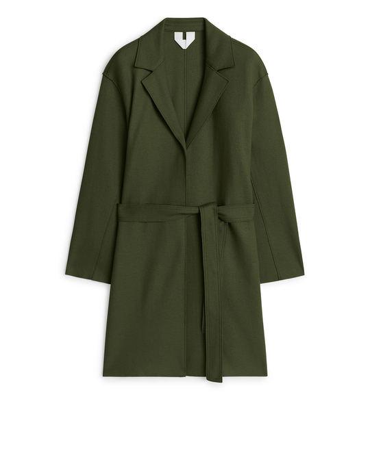 Arket Belted Wool Jersey Coat Dark Green