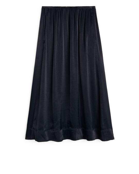 Arket Washed Satin Skirt Dark Blue