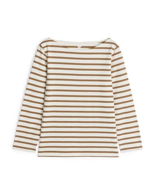 Arket Striped Cotton Top Beige