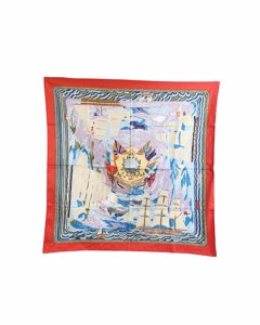 Hermes Cotton Scarf 70 Cm Marine Naive Henry F. Smith, Sailor