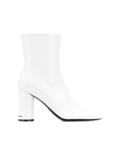 Balenciaga Oval Leather Ankle Boots White