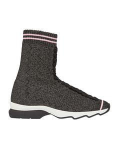 Fendi Fabric Sock Sneakers Gray