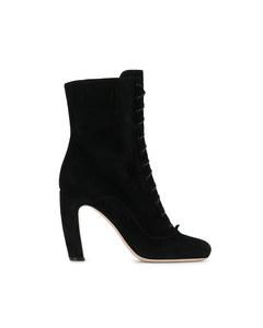 Miu Miu Suede Lace Up Boots Black