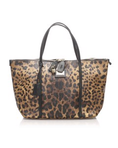 Dolce&gabbana Leopard Print Leather Tote Bag Brown