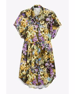 Belted Shirt Dress Floral Oil Painting