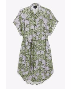 Belted Shirt Dress Green Floral Print