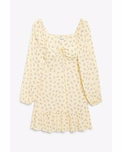 Sweetheart Neckline Dress Yellow Floral