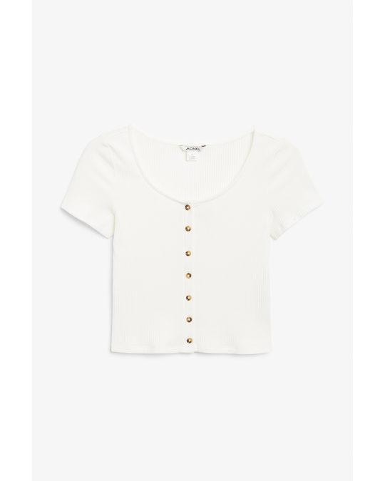 Monki Cropped Button-up Top Wondrous White