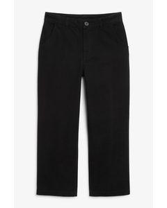 Gerade geschnittene Hose aus Baumwoll-Twill Black