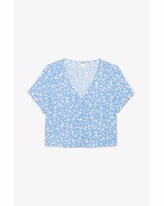 Cropped Button-up Blouse Blue And White Spots