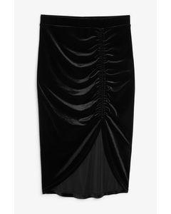 Velvet Ruche Skirt Black Magic