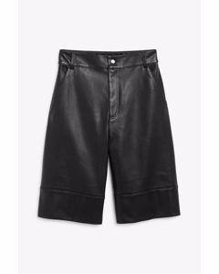 Faux Leather Bermuda Shorts Black Magic