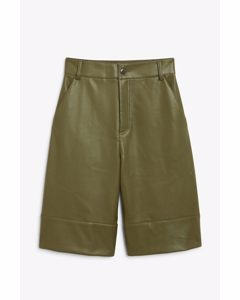 Faux Leather Bermuda Shorts Khaki